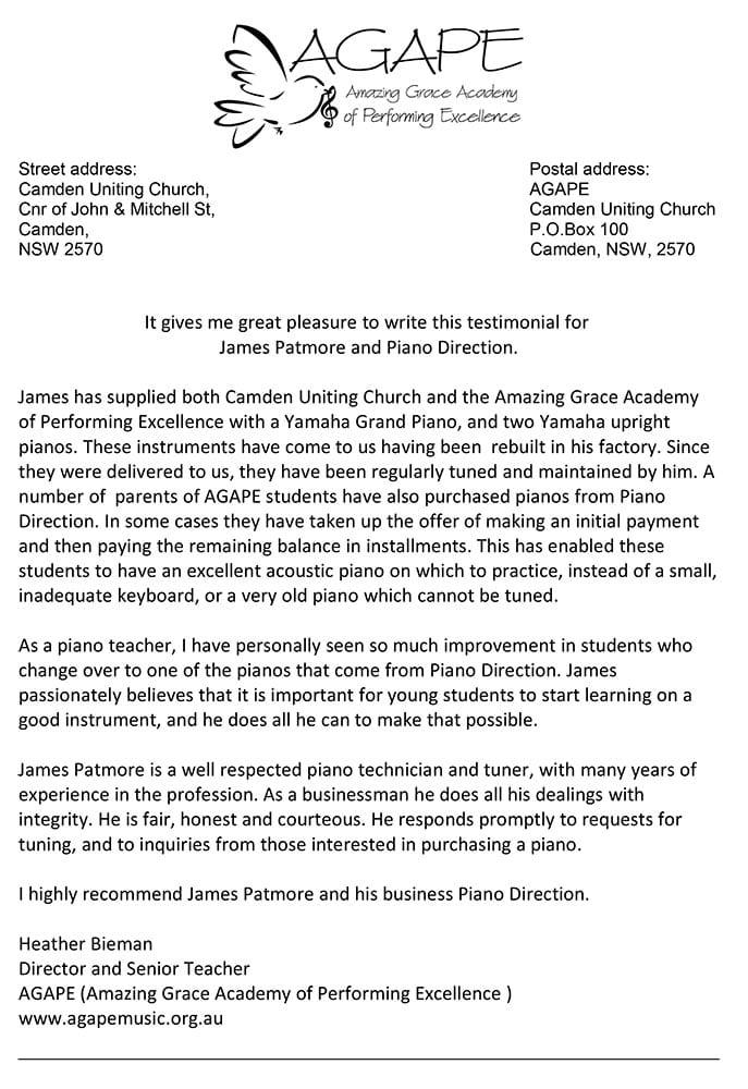 Testimonial for Piano Direction Heather Bieman April 2020